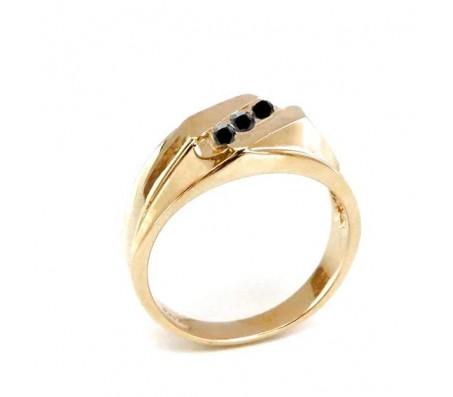 טבעת יהלומים לגבר בזהב צהוב 14K