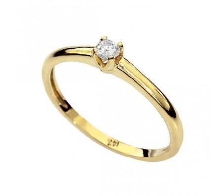 Классическое кольцо из желтого золота 14 карат с бриллиантом 0.12 карат