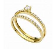 Два кольца из желтого золота 14 карат с  бриллиантами общим весом 0.40 карата