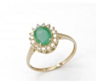 Кольцо из золота 14 карат c изумрудом и бриллиантами