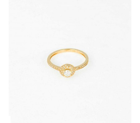 טבעת יהלומים בזהב 14 קאראט- דגם HALO