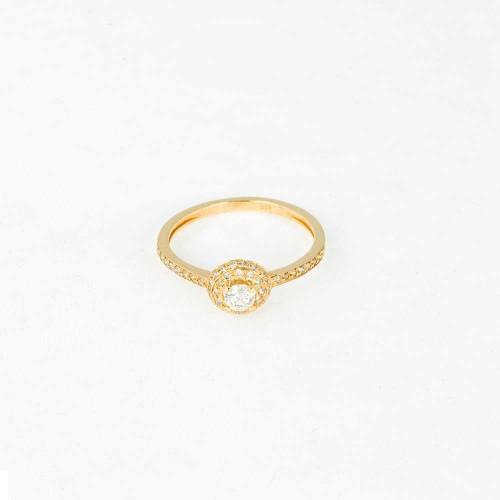 Кольцо из золота 14 карат c бриллиантами. Модель HALO