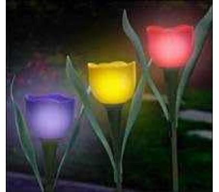 Светодиодный (LED) тюльпан,со стеблем и 2 листьями