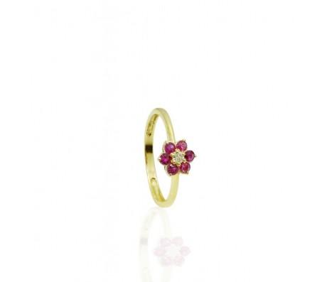 טבעת רובי ויהלום מעוצבת בסגנון פרח