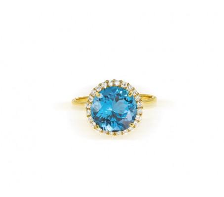 טבעת משובצת אבן בלו טופז זרקון ויהלומים 0.25 קראט