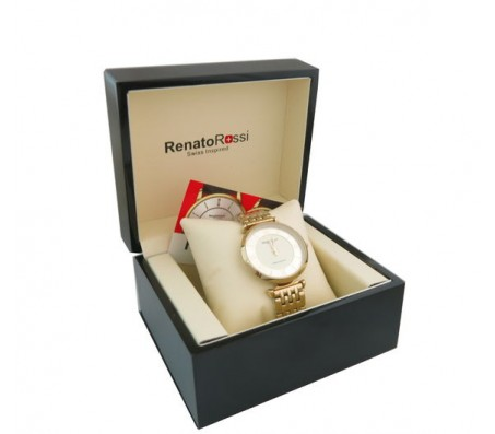שעון לאשה מותג- RenatoRossi- מנגנון שויצרי ציפוי בצבע זהב