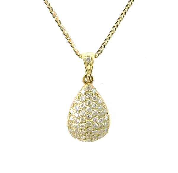 Цепочка с кулоном в виде капельки с бриллиантовым паве
